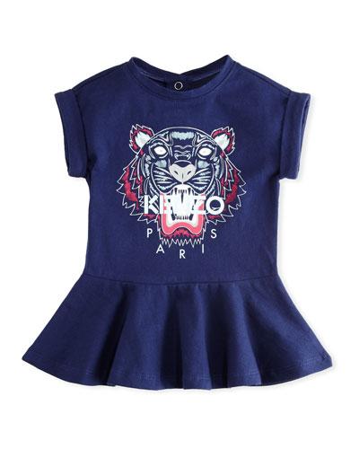 Tiger Face Drop-Waist Dress, Navy, Size 12-18 Months