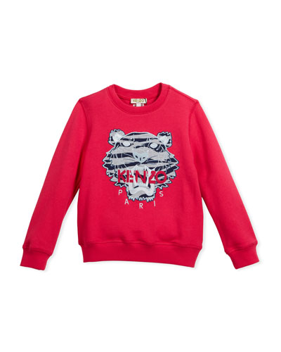 Pullover Sweatshirt w/ Striped Tiger Face, Pink, Size 4-6