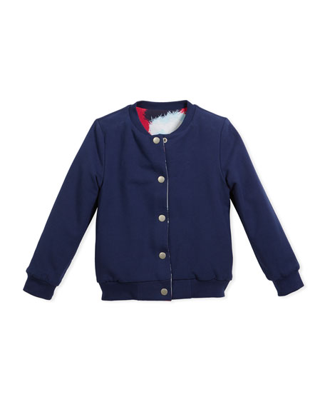 Reversible Baseball-Collar Jacket, Size 14-16