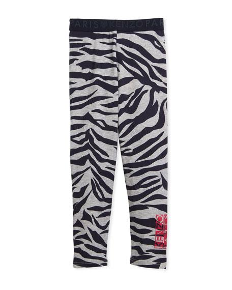 Tiger Stripe Leggings, Gray, Size 4-6