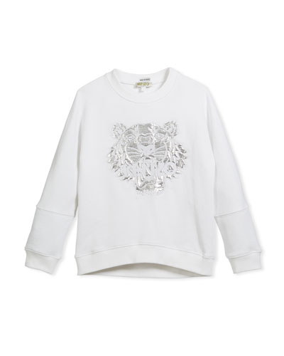 Drop-Shoulder Sweatshirt w/ Metallic Tiger Face, White, Size 14-16