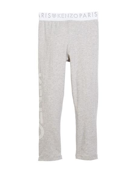 Cotton-Stretch Logo Leggings, Size 8-12