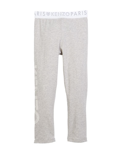 Cotton-Stretch Logo Leggings, Size 4-6