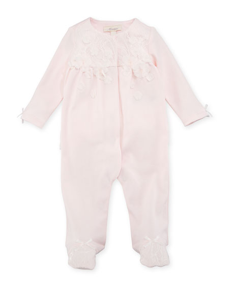 Lace-Overlay Footed Coverall, Pink, Size 3-9 Months