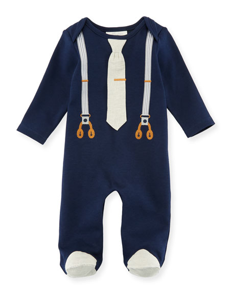 2d60374cd8f Miniclasix Mock-Suspenders Footed Coverall