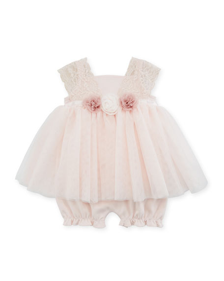 Lace & Tulle Flower Romper, Size 3-9 Months