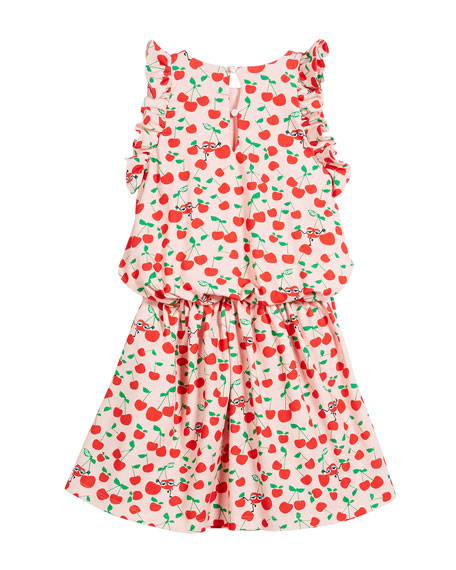 Cherry-Print Sleeveless Ruffle Dress, Size 3-5