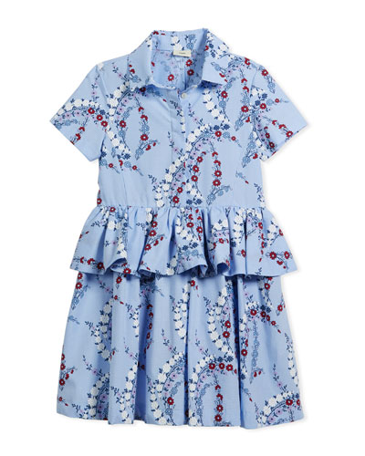Floral-Print Collared Dress, Size 3-5