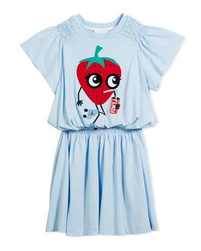 Shirred Strawberry Dress, Size 10-12