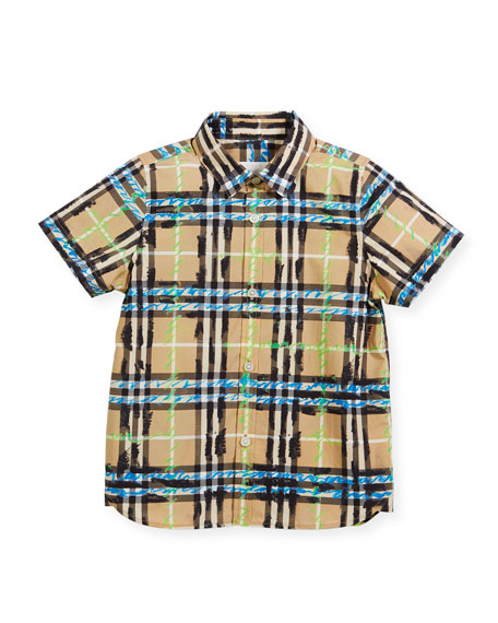 Clarkey Scribble Check Collared Shirt, Size 4-14