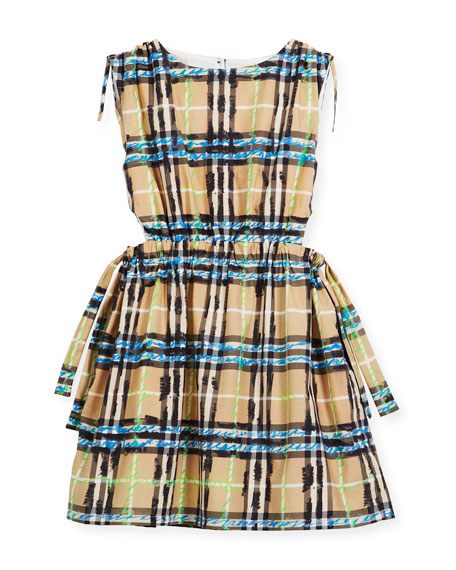 Burberry Candra Cutout Tie Check Scribble Dress, Size