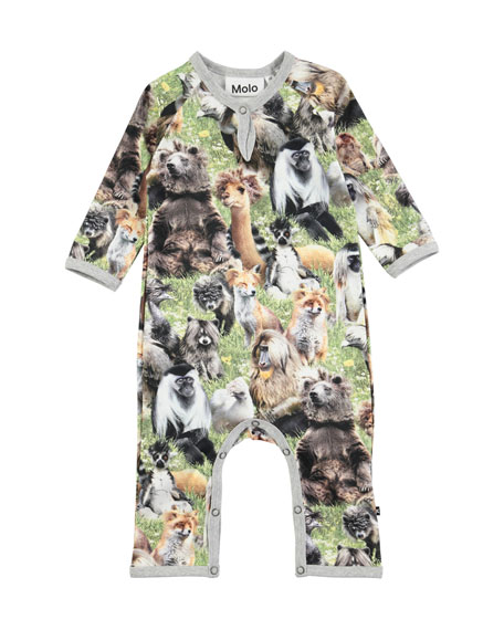 Fleming Hairy Animals Jersey Coverall, Size Newborn-9 Months