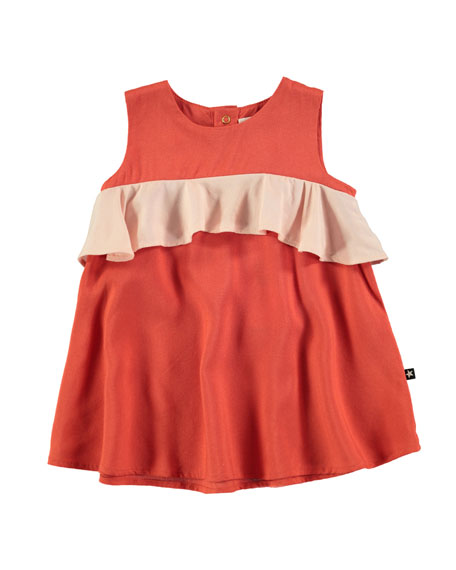Catja Burnt Sienna Sleeveless Dress w/ Contrast Ruffle, Size 6-24 Months