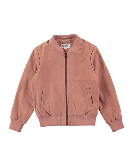 Haliva Velvet Rose Suede Bomber Jacket, Size 4-14