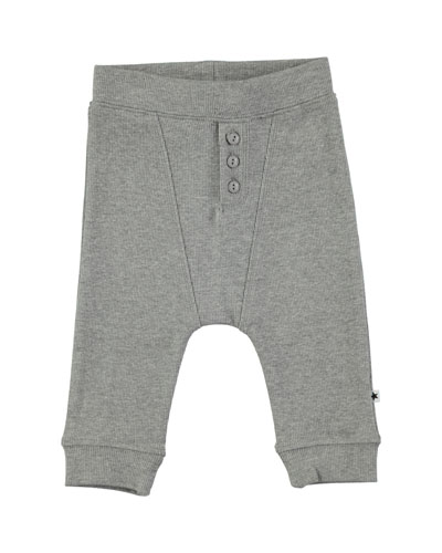 Simpson Grey Melange Cotton-Blend Ribbed Soft Pants, Size 6-24 Months