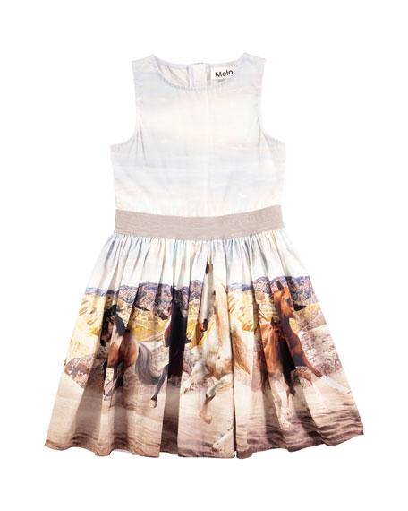 Carli Wild Horses Sleeveless Poplin Dress, Size 2T-12