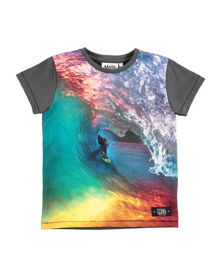Runi Short-Sleeve Rainbow Surfer T-Shirt, Size 4-10