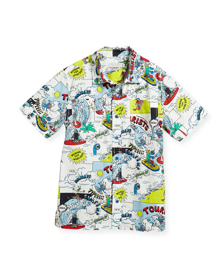 Rowan Cartoon-Print Button-Down Shirt, Size 4-10