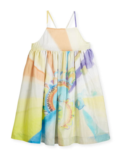 Pear Cross-Back Watercolor-Print Dress, Size 4-14