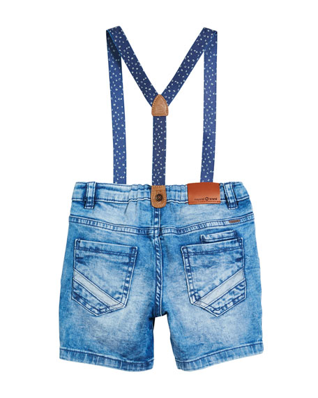 Distressed Denim Shorts w/ Suspenders, Size 12-36 Months