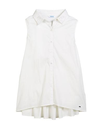 Sleeveless Blouse w/ Rhinestone Collar, Size 8-16
