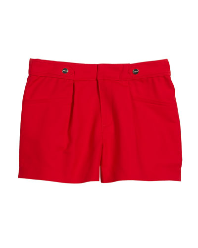 Sateen Poplin Pleated Shorts, Size 8-16