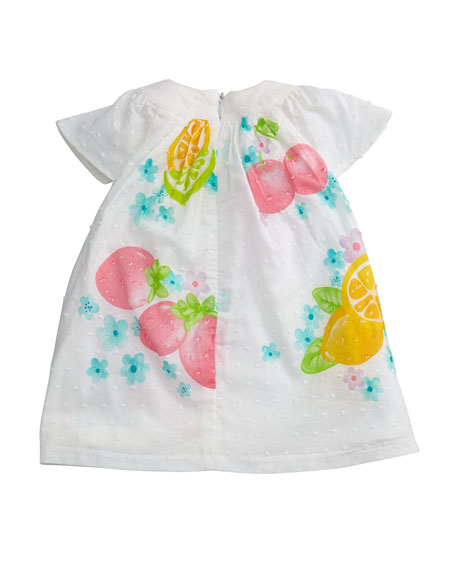 Fruit-Print Swiss Dot Bishop Dress w/ Bloomers, Size 2-12 Months