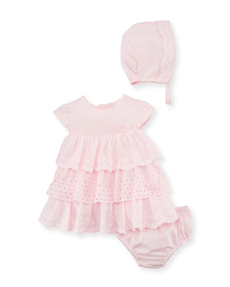 Multi-Lace Ruffle Dress w/ Bloomers & Bonnet, Size 2-12 Months