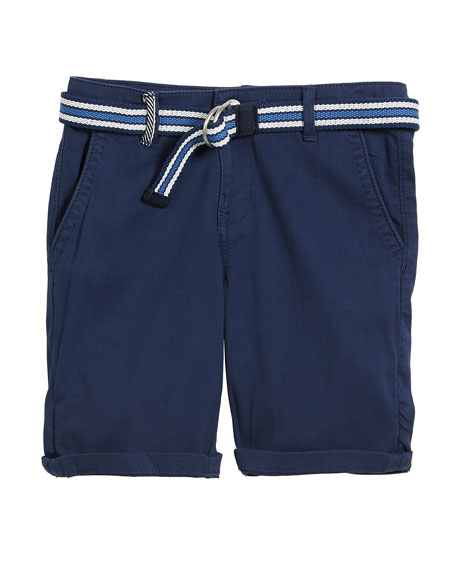 Chino Cotton-Stretch Shorts w/ D Ring Belt, Size 4-7