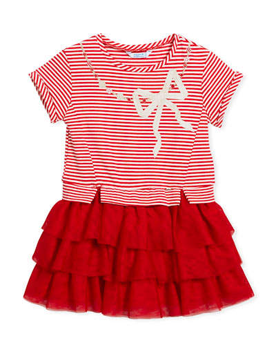 Stripe-Top Dress w/ Tiered Tulle Skirt, Size 3-7