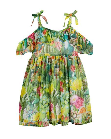 Jungle Floral Cold-Shoulder Dress, Size 3-7