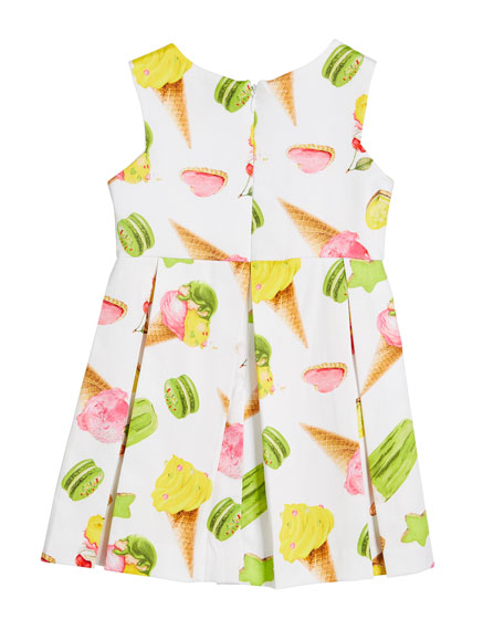 Ice Cream Print Box-Pleat Sateen Dress, Size 3-7