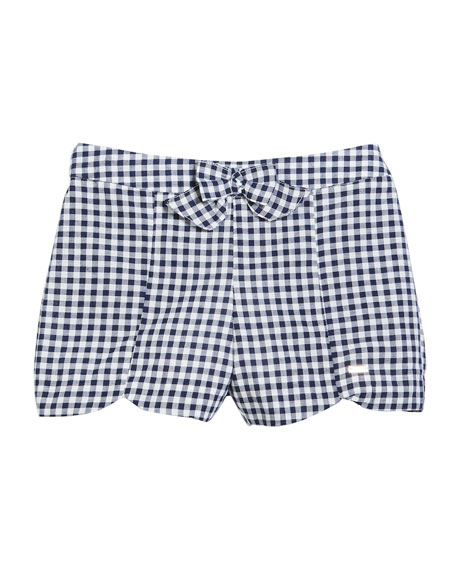 Gingham Bow-Front Cotton Shorts, Size 12-36 Months
