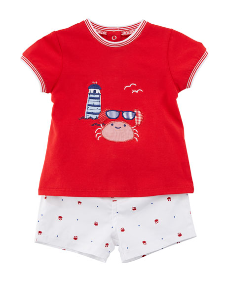 Mayoral Short-Sleeve Crab T-Shirt w/ Matching Shorts, Size