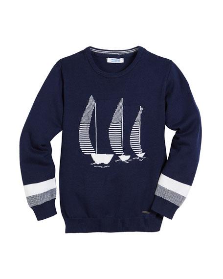 Mayoral Sailboat Intarsia Long-Sleeve Sweater, Size 4-7