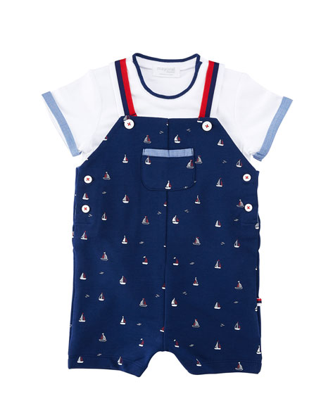 Sailboat Overalls w/ Short-Sleeve Tee, Size 1-12 Months
