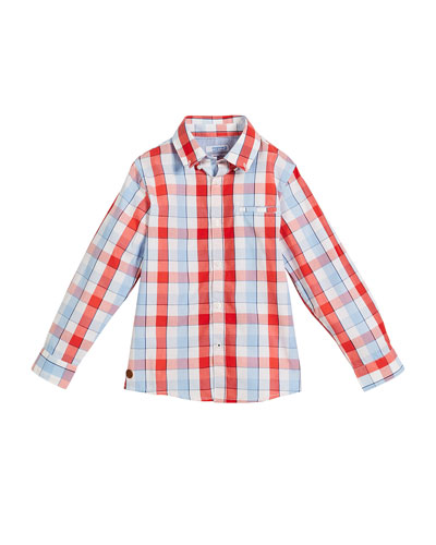 Long-Sleeve Check Button-Down Shirt, Size 4-7
