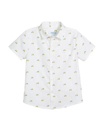 Short-Sleeve Woven Scooter-Print Shirt, Size 12-36 Months