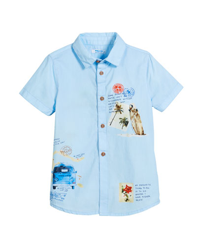 Woven Short-Sleeve Map-Print Shirt, Size 3-7