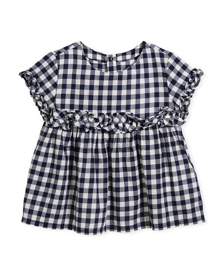 Poplin Gingham Ruffle Shirt, Size 3-7