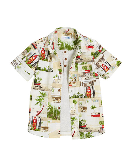 Short-Sleeve Woven Beach Shirt w/ Henley, Size 3-7