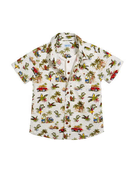 Short-Sleeve Jungle-Print Shirt w/ Henley Tee, Size 12-36 Months