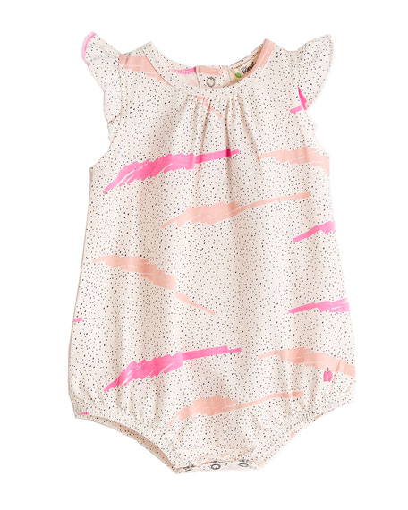 Wave-Print Frill Sleeve Romper, Size 0-18 Months