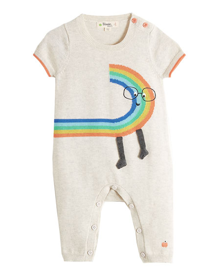 Short-Sleeve Rainbow Dude Knit Playsuit, Size 0-18 Months