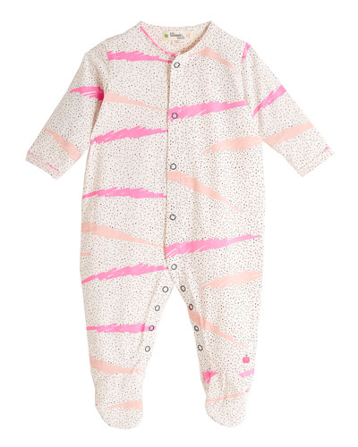 Wave-Print Footie Pajamas, Pink, Size 0-6 Months