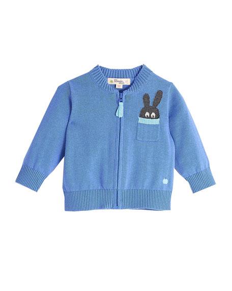 Zip-Up Knit Cardigan w/ Bunny Intarsia Pocket, Blue, Size 6-24 Months