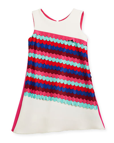 Scallop Front Sleeveless Shift Dress, Size 7-16