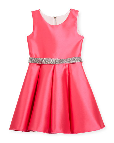 Matte Sateen Swing Dress w/ Crystal Belt, Size 4-6X