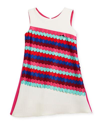 Scallop Front Sleeveless Shift Dress, Size 4-6X