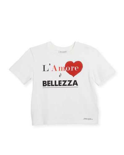 Belle Amore Short-Sleeve Cotton T-Shirt, Size 8-12